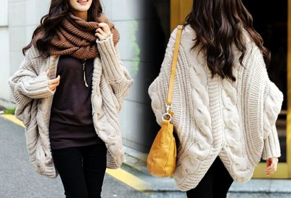 women autumn wool long knitted coat sweater cape-f35769